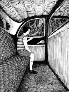 Rohan Eason #illustration #painting ( Como en un taxi de más de media noche )