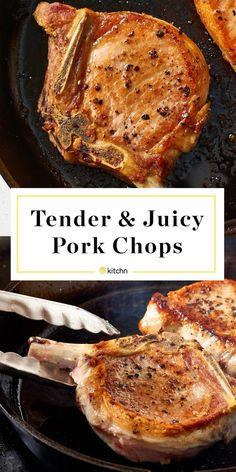 How To Cook Tender, Juicy Pork Chops Every Time. If you're looking for easy dinners you can make baked in your oven, try these perfect pork chops! Oven Recipes, Cooking Recipes, Cooking Games, Cooking Classes, Skillet Recipes, Cookbook Recipes, Recipies, Skillet Dinners, Pork Chops Bone In