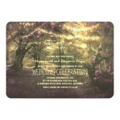 Woodland Wedding Invitation Rustic Woodland String Lights Trees Wedding Card