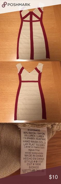 Wow Couture Bandage Dress Sparkling gold bandage dress with Burgundy striping. Slip on(no zipper) Like new condition WOW couture Dresses Mini