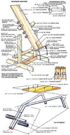 How to build a homemade gym by building wooden home workout equipment—the inversion machine and sit-up bench—to keep love handles at bay and promote exercise and health. Best Home Workout Equipment, Outdoor Fitness Equipment, Exercise Equipment, Diy Home Gym, Best Home Gym, Gym Workouts, At Home Workouts, Workout Tanks, Workout Gear