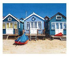 Toile sur châssis BLUE BEACH HUTS - 50*40