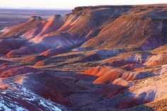 The Painted Desert encompasses over 93,500 acres and stretches over 160 miles. It begins about 30 miles north of Cameron, Arizona near the southeastern rim of the Grand Canyon to the Petrified Forest about 26 miles east of Holbrook, AZ.