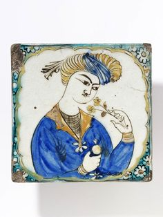 Persian tile e. 17th C. the motif of smelling a blossom. Iran