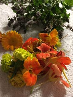 cut fresh flowers and herbs can be  mixed together to make a new  Scent.