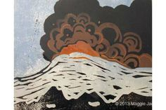 Icelandic Conflict Inspired by a volcanic eruption in Iceland Limited edition linocut