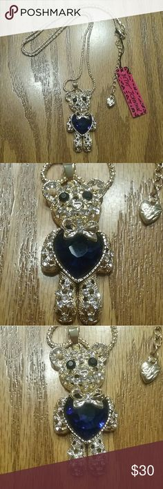 Betsey Johnson sapphire teddy bear necklace Brand new Head and legs move Bear is 2.5in long 16in long plus has extender Betsey Johnson Jewelry Necklaces