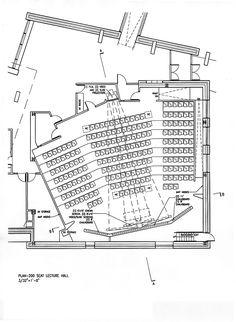 200 Seat Lecture Hall Plan Auditorium Plan, Auditorium Architecture, Architecture Plan, Theater Plan, Museum Plan, Lecture Theatre, Hall Flooring, Hall Design, Room Planning