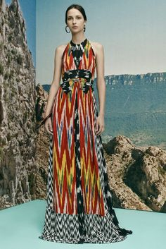 Altuzarra Resort 2016 Fashion Show  It's a talent that he put to use on other dresses here stitched with swags of beads strung in the style of the Kuna tribe in Panama. Each string boasted a different order of beads, but when they were arrayed next to each other, they created a graphic, vivid pattern.