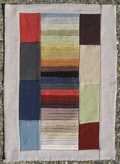 Textile Art Quilt Made From An Upcycled Upholstery Fabric Sample Book.