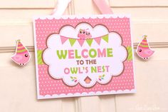 ••• Owl Pink Baby Shower Party Theme •••  Shop Them Here:  https://www.etsy.com/shop/LeeLaaLoo/search?search_query=s23&order=date_desc&view_type=gallery&ref=shop_search  ♥♥♥ Vendor Credits:  ♥ Party Styling: LeeLaaLoo - www.leelaaloo.com  ♥ Party Printable Design & Decoration: LeeLaaLoo - www.etsy.com/shop/leelaaloo  Our YouTube channel for some DIY tutorials here: http://www.youtube.com/leelaaloopartyideas