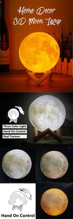 US$24.6 -- 15cm 3D Magical Three Tone Moon Lamp USB Charging Luna LED Night Light Touch Sensor Gift#newchic#moon#light