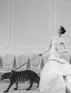 Erin O'Connor in Dior HC by Cathleen Naundorf for Harper's Bazaar UK