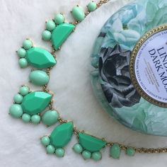 Kate Spade Necklace NWOT mint green Kate Spade bib statement necklace with adjustable chain. 16-inches to 18-inches. Gold plated. Ships with dust bag.   Please make all offers through the offer button  ✨10%✨off with bundle!  Fast Shipping Non-Smoking No trades/PayPal Open to fair offers Instagram: laurentopor Tumblr: nearlynewbylo  ✨ Happy Poshing ✨ kate spade Jewelry Necklaces