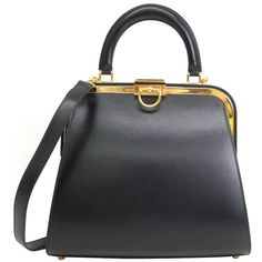 Preowned Christian Dior Ladylike Black Leather Gold Hardware Satchel... (10.835 HRK) ❤ liked on Polyvore featuring bags, handbags, black, leather hand bags, shoulder strap handbags, leather satchel, leather handbags and satchel purses