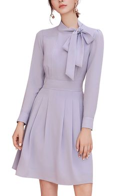 Orchid Tie Neck Ruched Front Mini Dress for women 2017 sale - Dresses for Work Women's Dresses, Cute Dresses, Beautiful Dresses, Casual Dresses, Fashion Dresses, Royal Dresses, Dresses Online, Fashion Shorts, Office Dresses