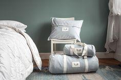 NEW My Alpaca packaging - dusty blue cotton-linen blend carrier bags.