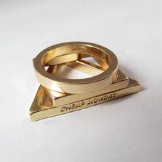 3pcs placcati oro 18k anelli triangolo rotondo quadrati set accatastamento - US$1.99 - Banggood mobile