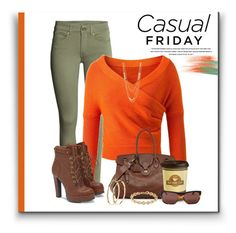 """""""CASUAL FRIDAY - POP OF ORANGE"""" by arjanadesign ❤ liked on Polyvore featuring Ralph Lauren, Gorjana, Pieces, JustFab, Burberry, WorkWear and casualfriday"""