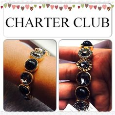 XMAS SALE  Stunning Bracelet Color: black stones, gray stones and teardrop in rhinestones. Stretchable with gold accent. Charter Club Jewelry Bracelets
