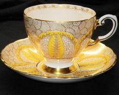 Royal Tuscan England Gold Pastel Pink Yellow Tea Cup and Saucer