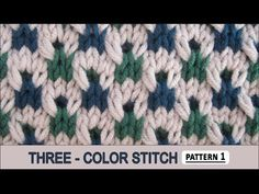 Knitting Three-color Stitch Pattern (Double Twist Check) Video Tutorial