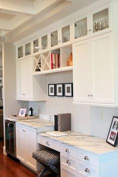 Jenny Steffens Hobick: Jill's Kitchen | White Marble, Stained Island, Cream Painted Glass Front Cabinets & Polish Silver Hardwar