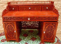 Miniature writing desk, scroll saw fretwork pattern