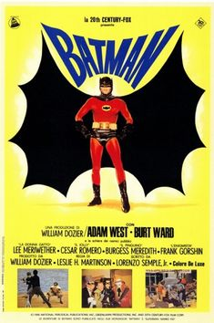 visual evolution of Batman in movie posters Batman movie poster in 1966 presented by Century-Fox.Batman movie poster in 1966 presented by Century-Fox. Batman The Movie 1966, Batman Tv Show, Batman Tv Series, Batman 1966, I Am Batman, Superman, Batman Superhero, Batman Art, Vintage Advertising Posters