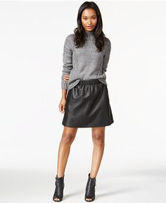 Maison Jules Mock-Turtleneck Knit Sweater & Pleather Pull-On Skirt, Only at Macy's - Women - Macy's