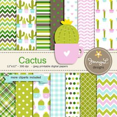 Cactus Digital Paper and Clipart, Plant for Birthday, Baby Shower, Wedding and Scrapbooking Paper Party Theme,