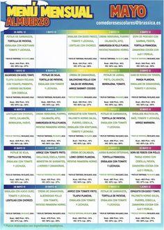 Menu mensual de mayo Comedores escolares - Espana