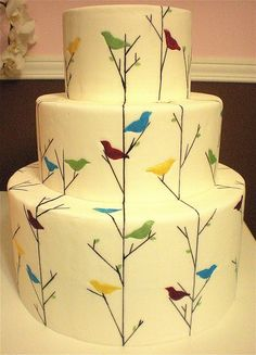 Pretty little birds decorated cake.