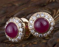 Gehna offer to sell Unique ruby and diamond pair of ear studs handcrafted in 22k gold online in Chennai.