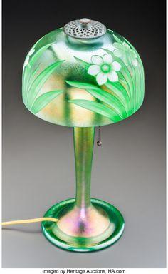 Tiffany Studios Intaglio Green Favrile Glass Daffodils Desk Lamp. | Lot #79024 | Heritage Auctions