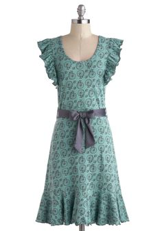 Good Times Roll Dress by Effie's Heart - Mid-length, Blue, Purple, Novelty Print, Pockets, Ruffles, Belted, Casual, A-line, Cap Sleeves, Scoop, Spring