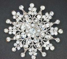Bridal Sparkling Crystal Brooch Pin RhinestonesSilver plated Embellishment  Broach DIY Wedding Bridal Bouquet Sash. $8.50, via Etsy.