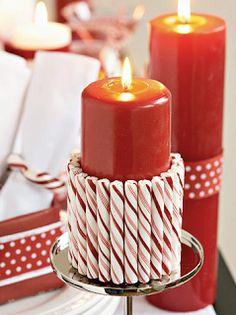 Chandelle décorée avec des cannes de bonbons de Noel