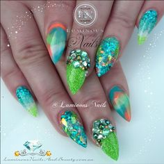 #ShareIG Tropical Inspired Acrylic Nails... #tropical #island #summer #sunshine #spring #cocktails #sculpturednails #youngnails #glittergasm #lish #glittery #glitter
