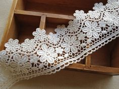 White Venise Lace Trim with Flowers design For Appliques, Veils, Sashes, Headbands, Altered Couture