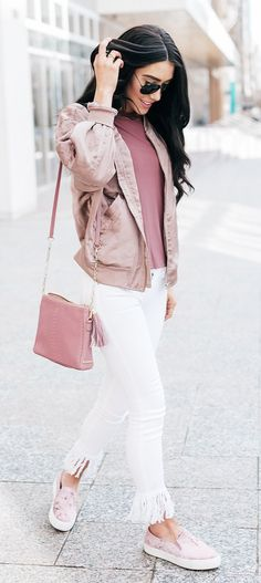 #spring #fashion Pink Top & Tan Jacket & White Fringe Skinny Jeans