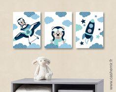 Lot de 3 illustrations pour chambre d'enfant garçon, décoration chambre bébé affiche poster, réf.3 bleu turquoise : Décoration pour enfants par cashemir