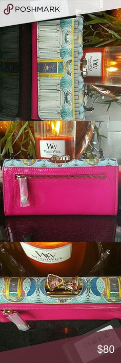 Geo Door Matinee Wallet NWT Patent leather Crystal kiss locks Ted Baker Bags Wallets