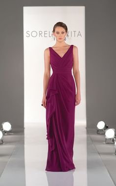 Elegant full length mulberry purple bridesmaid dress by Sorella Vita. (Style 8338)