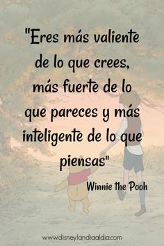 Frase de amistad de winnie the pooh Motivational Phrases, Inspirational Quotes, Best Disney Animated Movies, Christopher Robin, Coaching, Disney Quotes, Frases Disney, Spanish Quotes, Sentences