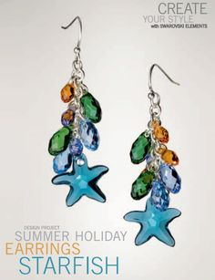 Swarovski Crystal Starfish Earrings Design and Free Instructions