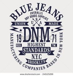 Denim blue jeans typography, t-shirt graphics, vectors - stock vector