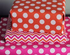 Gift Wrap Hot Pink and Orange Preppy Girls Baby Shower Chevron Stripes and Polka-Dots -- Birthday Party Wrapping Sheets