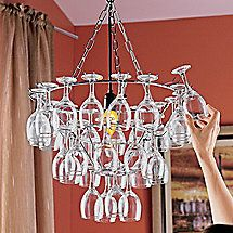 Wine Glass Chandelier, an alternative would be to mix up wine glass colors, shapes and textures!