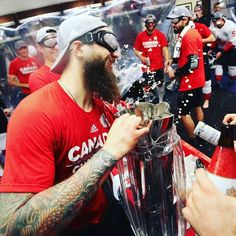 Party time with Brent Burns :) Brent Burns, Hockey World Cup, Party Time, Canada, Geek, Awesome, Instagram Posts, Sports, Hs Sports
